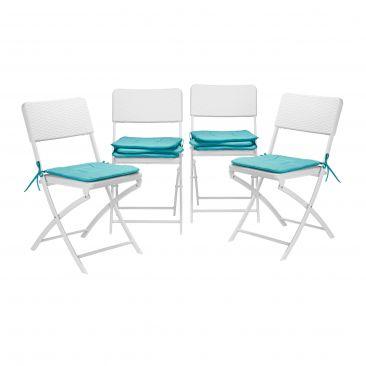 Stuhlkissen 8er Set Sitzauflage Sitzkissen Stuhlauflage Gartenstuhl türkis 40x40
