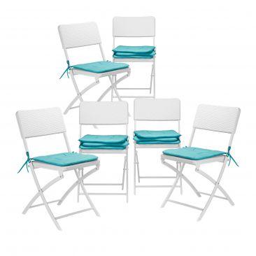 Stuhlkissen 12er Set Sitzauflage Sitzkissen Stuhlauflage Gartenstuhl türkis