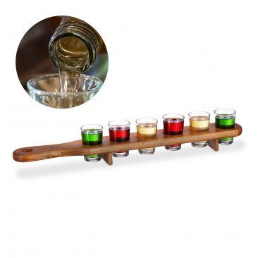 Schnapsbrett Holz mit 6 Gläsern Gesamtansicht