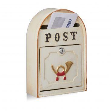 Briefkasten antik mit Posthorn Gesamtansicht