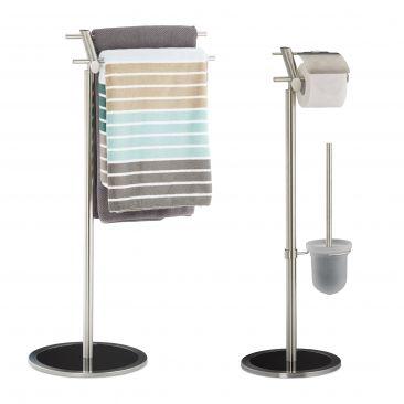 2 tlg. Badezimmer Set, Toilettenbürstenhalter, Klopapierhalter, Handtuchständer