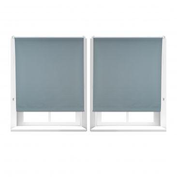 2er Set Verdunkelungsrollo 110x160 Rollos für Fensterrahmen Seitenzugrollo grau