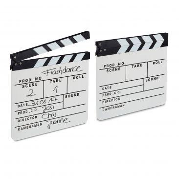 2 lavagnette ciak in legno, clapperboard regista, set cinematografico, Holywood