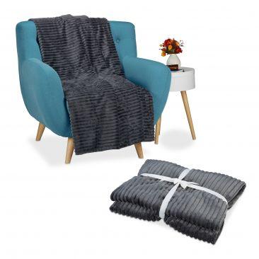 2er Set Kuscheldecke, Wohndecke warm, Tagesdecke flauschig, 150 x 200 cm Decke