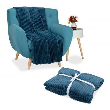 2er Set Kuscheldecke groß in Blau, Sofaüberwurf XXL, Tagesdecke, Wohndecke warm
