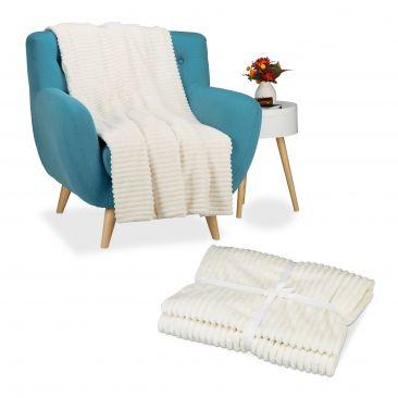 2er Set Kuscheldecke groß Sofadecke Sofaüberwurf flauschig warm Tagesdecke creme