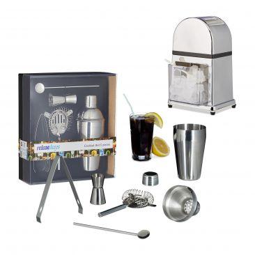6er Cocktail-Mix-Set manueller Eiscrusher Shaker Barmaß Barlöffel Sieb Zange