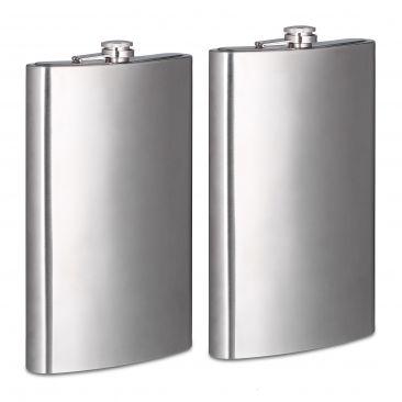 2er Set Riesen Flachmann Taschenflasche XXL für unterwegs 1800 ml im Doppelpack