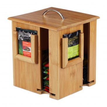 Teebox drehbar aus Bambus Gesamtansicht
