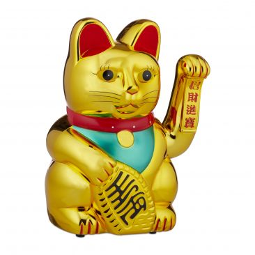 Winkekatze 30cm Gold Gesamtansicht