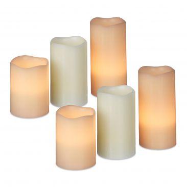 6er Set LED Kerzen Echtwachs Flackerkerzen hell Adventskerzen elektrische Kerzen