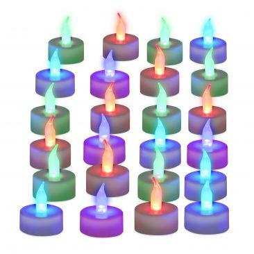 Pack de 24 velas led colores, A pilas, Velas sin llamas, Luz ambiente
