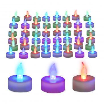 Pack de 48 velas led colores, A pilas, Velas sin llamas, Luz ambiente
