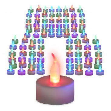 Pack de 96 velas led colores, A pilas, Velas sin llamas, Luz ambiente