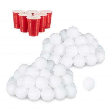 96x Beer Pong Bälle, Plastikbälle, Wurfbälle, Ping Pong Bälle, Tischtennisbälle