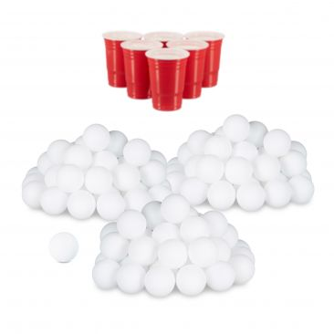 144x Beer Pong Bälle, Plastikbälle, Ping Pong Bälle, Tischtennisbälle, Wurfbälle