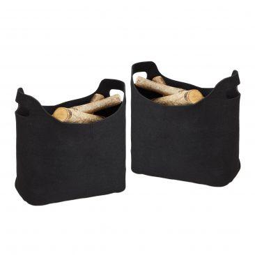 Set 2x Cesto borsa portalegna per camino in feltro, sacca da trasporto legname