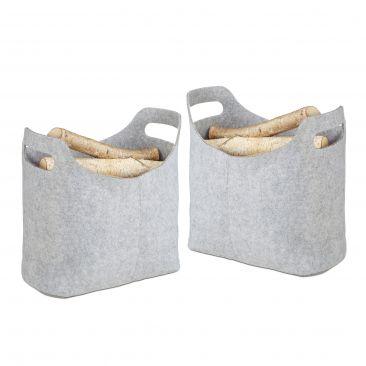 Set 2x Cesto borsa portalegna per camino in feltro, sacca da trasporto grigio