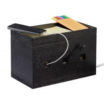 Kabelbox Bambus schwarz Gesamtansicht
