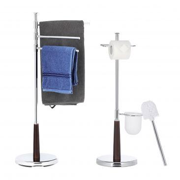 2 tlg. Badezimmer Set, WC Garnitur mit Toilettenpapierhalter, Handtuchhalter