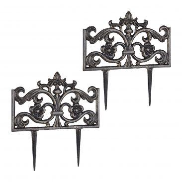 Pack de 2 Rejas jardín metálicas, Hierro negro, Verja decorativa, Valla metal
