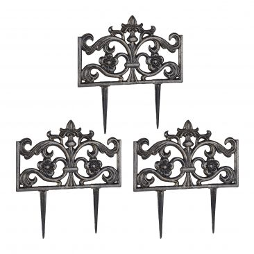 Pack de 3 Rejas jardín metálicas, Hierro negro, Verja decorativa, Valla metal