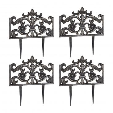 Pack de 4 Rejas jardín metálicas, Hierro negro, Verja decorativa, Valla metal