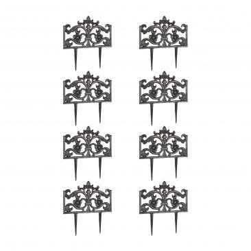 8er Set Beetzaun Gusseisen bronze, Beetbegrenzung, Beeteinfassung, Beetumrandung