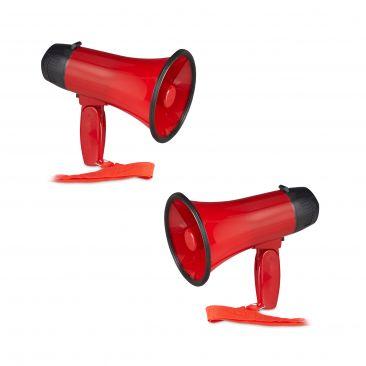 2x Megafon lustig Flüstertüte Bullhorn Mikrofon 10 W Megaphon Ole Fanartikel rot