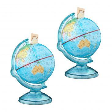 2er Set Spardose Globus mit Weltkarte Sparbüchse als Reisekasse Erdball Sparbox