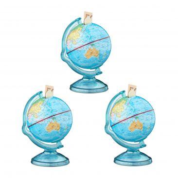 3er Set Spardose Globus Geldbüchse Sparbüchse Reisekasse Weltkugel zum Sparen