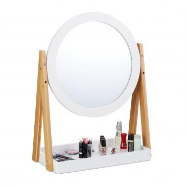 Kosmetikspiegel Bambus und MDF Gesamtansicht