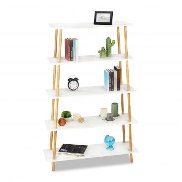 Bücherregal Bambus mit 5 Ablagen Gesamtansicht