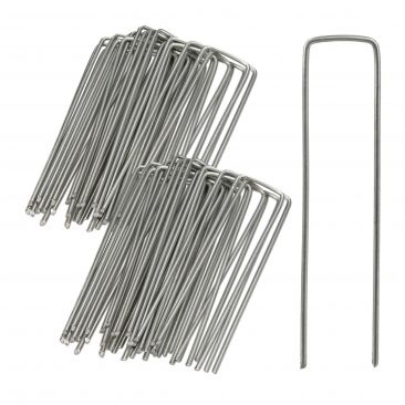 Securing Pegs Set of 50, Lawn Fixing Staples; U-Shaped, 3 mm Metal Stakes