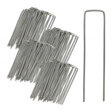 Securing Pegs Set of 100, Lawn Fixing Staples; U-Shaped, 3 mm Metal Stakes