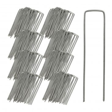 Securing Pegs Set of 200, Lawn Fixing Staples; U-Shaped, 3 mm Metal Stakes