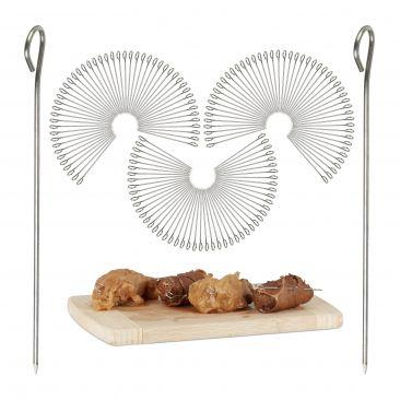 150 Pack Stainless Steel Meat Skewers, 11 cm Trussing Needles Set, Cocktail Pick