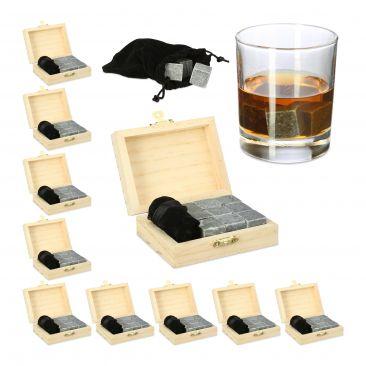 90 x Whisky Steine Kühlsteine Speckstein wiederverwendbare Eiswürfel Kühlwürfel