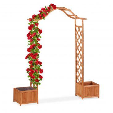 Holz-Rosenbogen mit 2 Pflanzkübeln Gesamtansicht