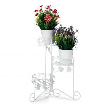 Blumenständer Metall weiß Gesamtansicht