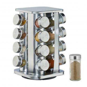 Edelstahl Gewürzkarussell mit 16 Gläsern Gesamtansicht