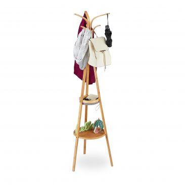 Garderobenständer Bambus mit Ablagen Gesamtansicht