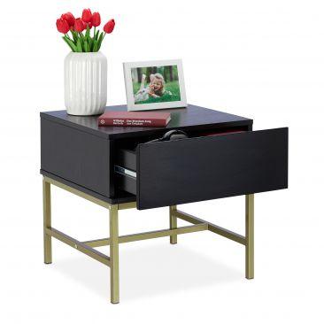 Nachttisch schwarz mit Schublade Gesamtansicht