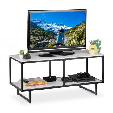TV Lowboard weiß-schwarz Gesamtansicht