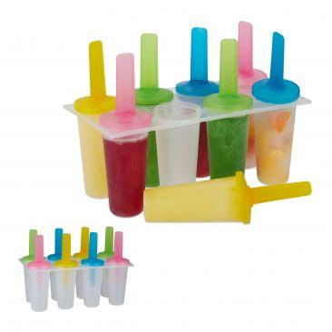 16 x Eisformen Kinder Stieleis Kunststoff Popsicles rund Eis am Stiel Set DIY
