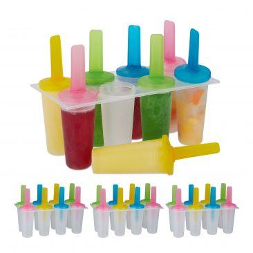 32 x Eisformen Stieleis Kunststoff Popsicles rund Eis am Stiel Set DIY Kinder