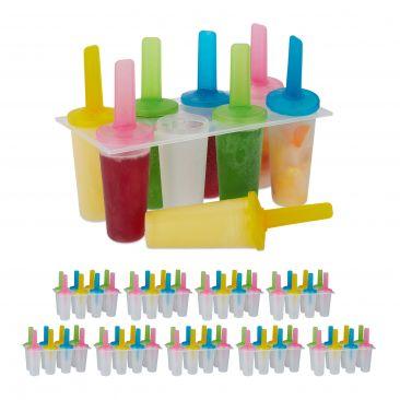 80 x Eisformen Kunststoff Popsicles rund Eis am Stiel Set DIY Kinder Stieleis