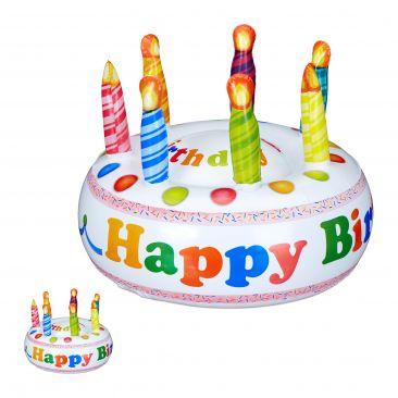 2 x Torte aufblasbar Happy Birthday Kindergeburtstag Deko Scherzartikel Kuchen