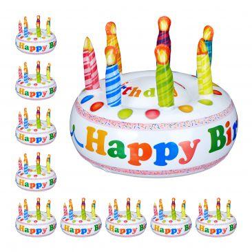 10 x Torte aufblasbar Happy Birthday Deko Scherzartikel Kuchen Kindergeburtstag