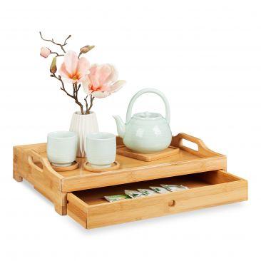 Bambus Serviertablett mit Schublade Gesamtansicht